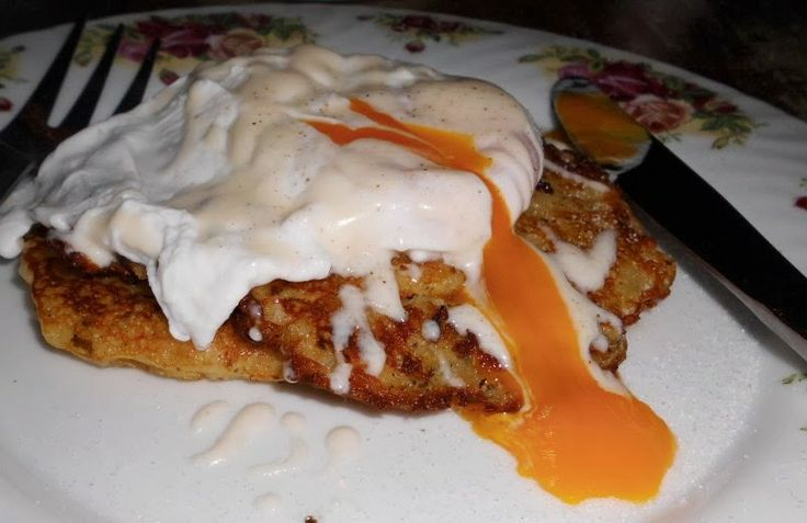 Recipe,,,Potato hash brown stack with poached egg at Avondale cottage tonight....