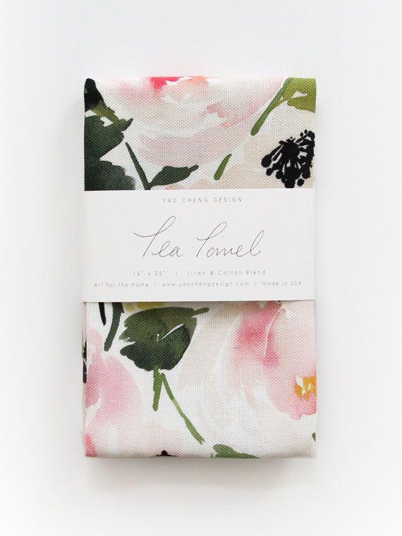 Peony Romance  Watercolor Tea Towel by YaoChengDesign on Etsy