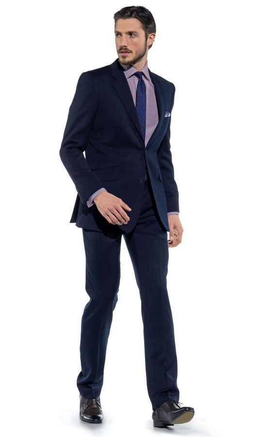 Douglas Regular Fit 2-Button Birdseye Tonal Navy Suit, from TM Lewin. #gifts