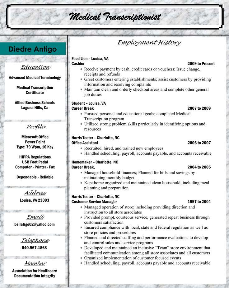 Medical Transcription Resume Help Editor