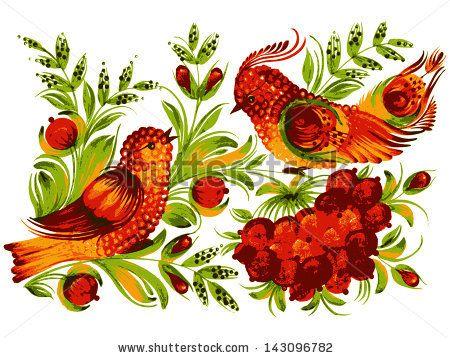 hand drawn, vector, illustration in Ukrainian folk style - stock vector
