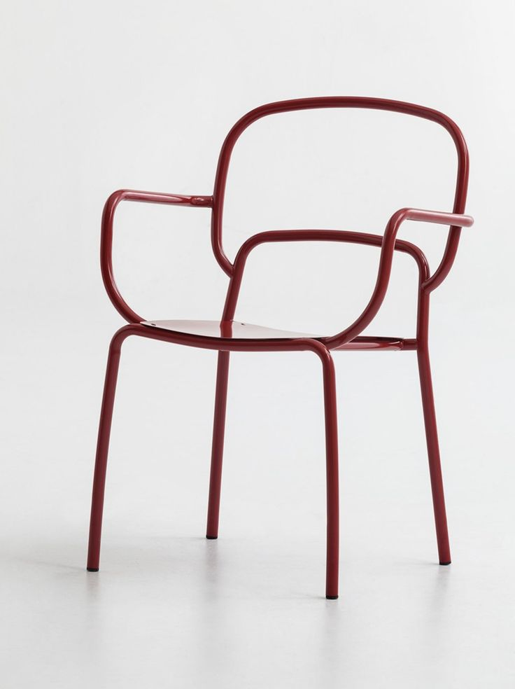 Lacquered metal chair with armrests MOYO by CHAIRS & MORE design 4P1B Design Studio