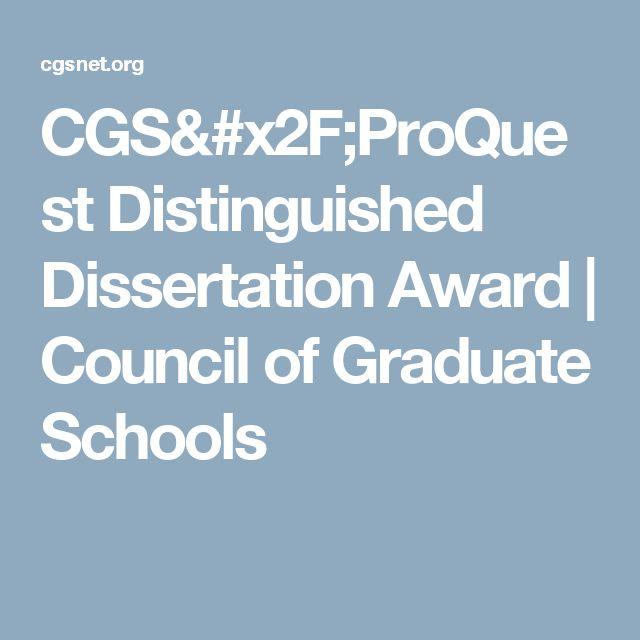 CGS/ProQuest Distinguished Dissertation Award | Council of Graduate Schools