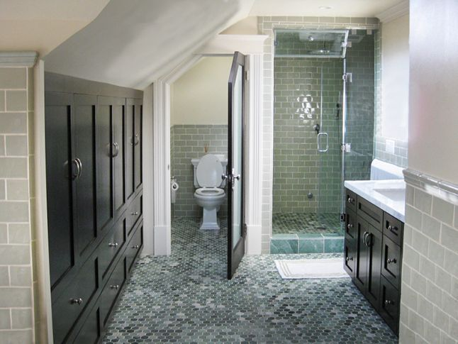 How to design around your sloped ceiling best sloped for Small attic bathroom sloped ceiling
