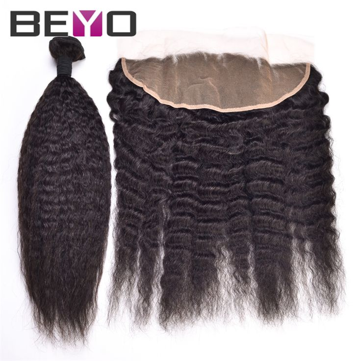 13x4 Lace Frontal Closure With Bundles Kinky Straight Brazilian Virgin Hair With Closure 7A Full Lace Front With Hair Bundles | #HairBundles #HairWeaveClosures