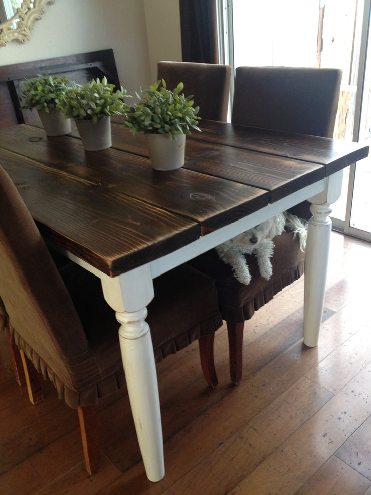 French Farmhouse Table - like our tables in the living room.. maybe for kitchen? Time to give our table a facelift! (2 x 8's with Java gel stain;distressed. Prebuild frame with few crossbars and off shelf premade legs painted white and antiqued with the java stain)