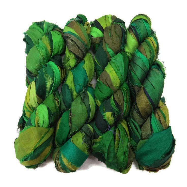 New! Premium Iridescent Sari Silk Ribbon yarn , 100g (50 yards) color Green Mix