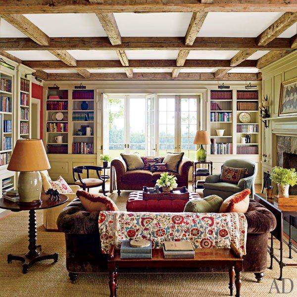 An Elegant New York Farmhouse by Gil Schafer : Interiors + Inspiration : Architectural Digest#slide=3Living Rooms, Expo Beams, French Doors, Interiors, Livingroom, House, New York, Families Room, Architecture Digest