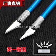 Металлическая Ручка Скальпеля Нож Резак Гравировка Ножи с 6 ШТ. Ножи Ручной Инструмент Для Канцелярские Художественные Принадлежности(China (Mainland))