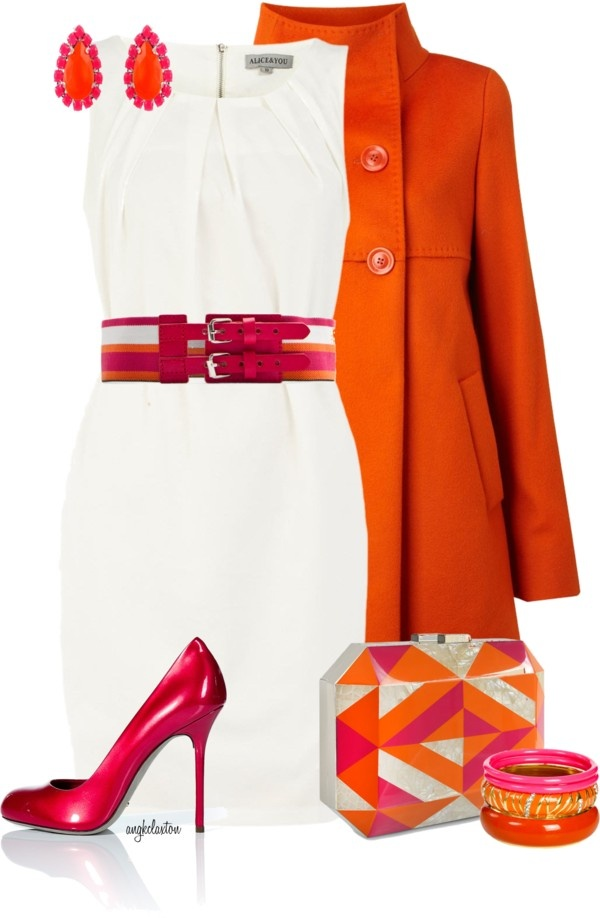 """""""Pink and Orange Contest #3"""" by angkclaxton ❤ liked on Polyvore"""
