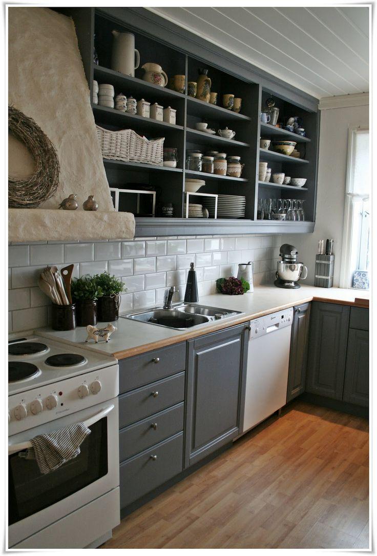 Kitchen, blue, skyggeblå, kjøkken, metro tiles