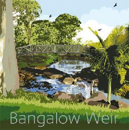 Byron Creek Weir, Bangalow, Far North Coast, NSW.  The historic village weir is set amidst a cool, palm-fringed oasis and is fed by the waters of Byron Creek.