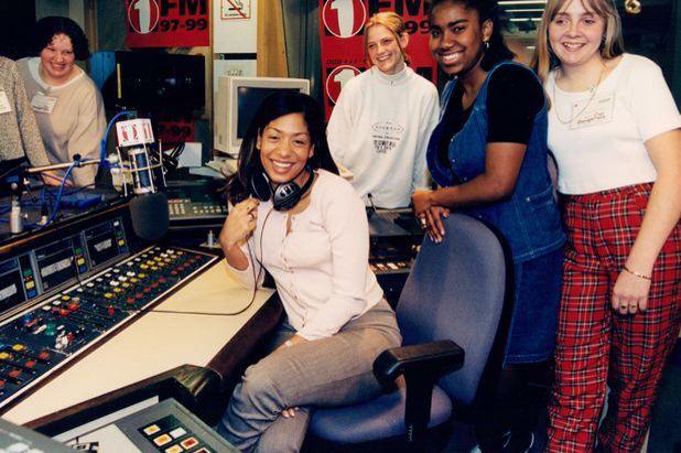 Lisa I'Anson in Radio 1's Egton House studio (1996)
