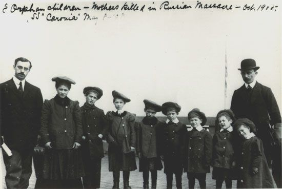 Eight orphan children whose mothers were killed in a Russian pogrom. They were brought to Ellis Island in 1908.