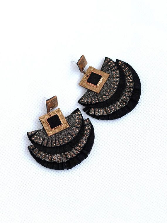 Leather Fringes Earrings Glitter Effec Leather Mettalic