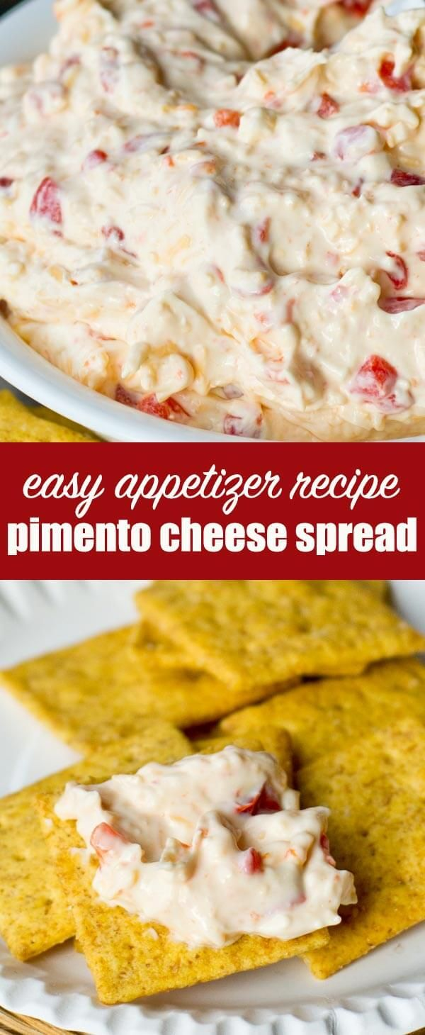 This Pimento Cheese Dip is the perfect appetizer and party food. Serve with crackers or veggies or as a side dish to your favorite soup! #pimentocheese #cheesedip #cheesespread #appetizer via @tastesoflizzyt