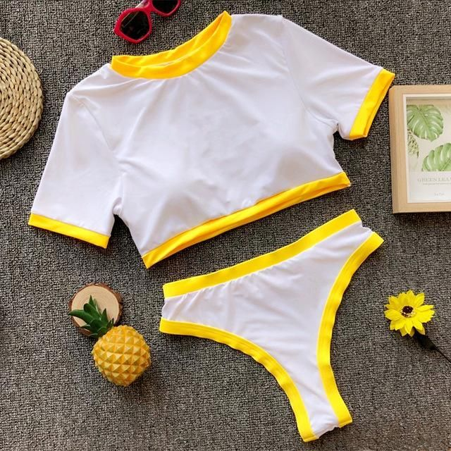 Beachwear Tracksuit Women Two Piece Set Top Pants 2 Piece Set Summer Women Beach Set Casual Crop Top Beach Shorts Yellow S