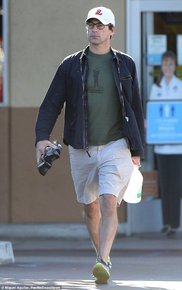 Where's dapper Don? Jon Hamm was almost unrecognizable as she stepped out in a t-shirt and shorts, wearing eye-glasses and a baseball cap in Los Angeles on Tuesday
