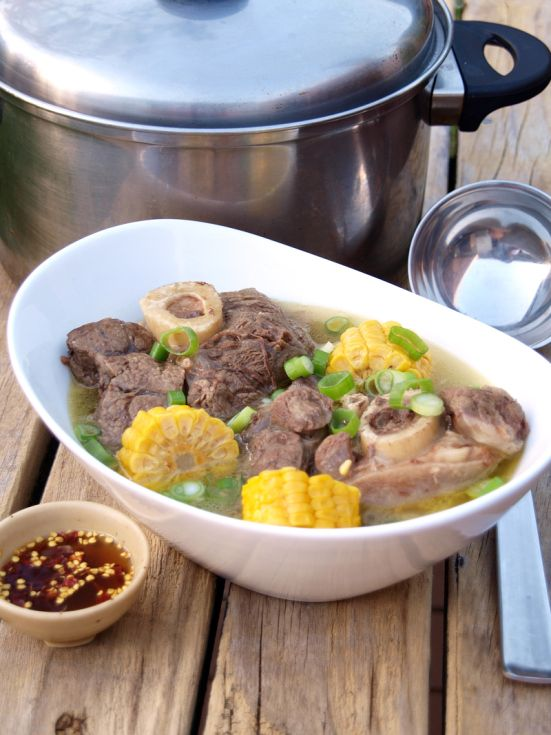 Recipe: Bulalo - a Philippine soup dish which is made out of beef leg bones with marrow boiled for a really long time.
