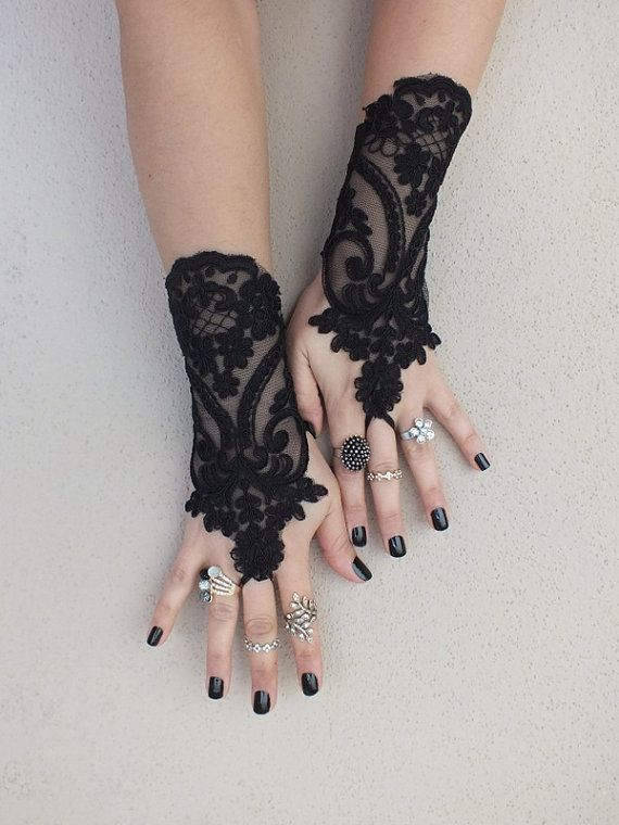 Black lace gloves french lace bridal gloves, ''High Quality Lace Gloves'' fingerless gloves black gloves burlesque  glove guantes free ship on Etsy, $30.00