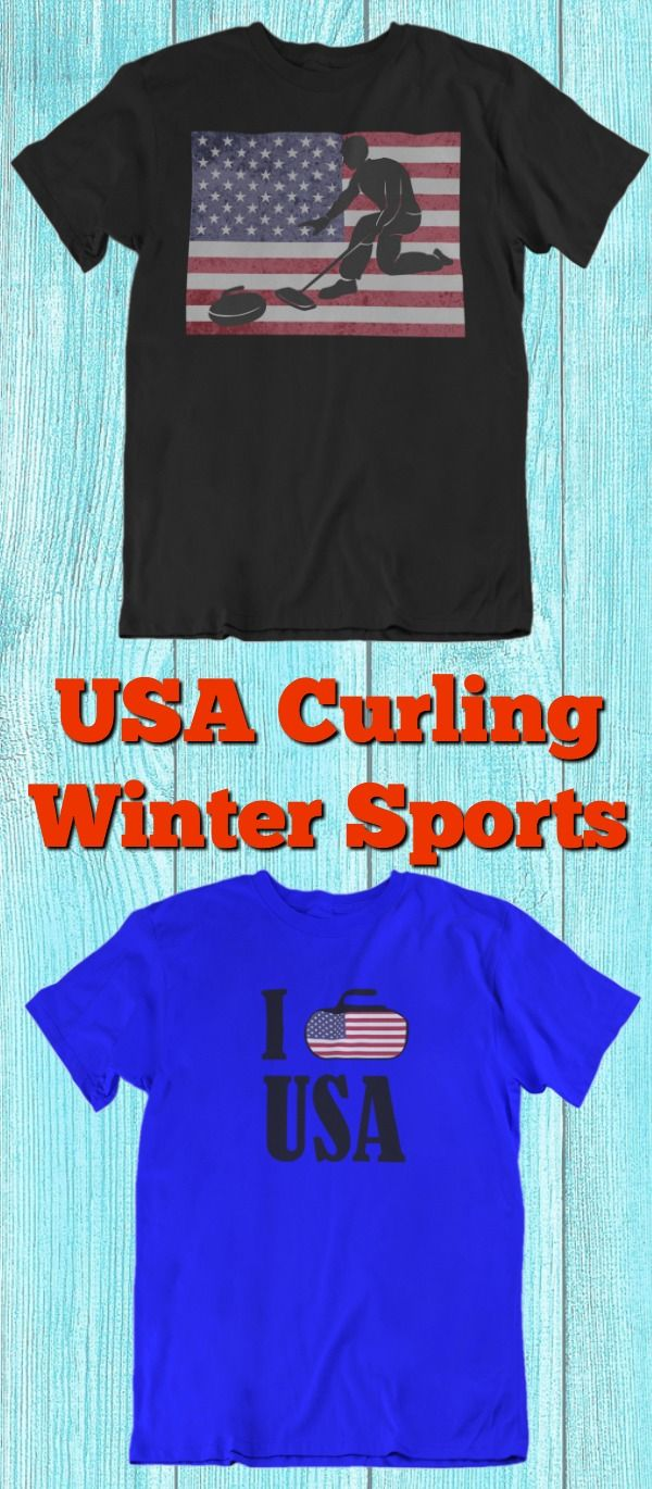 Curling Winter Sport Vintage USA American Flag T Shirt Olympic Impress your  friends with your cool