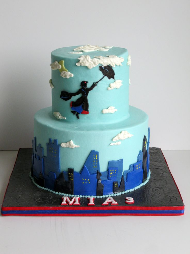 Mary Poppins Themed Cake Covered In Buttercream With