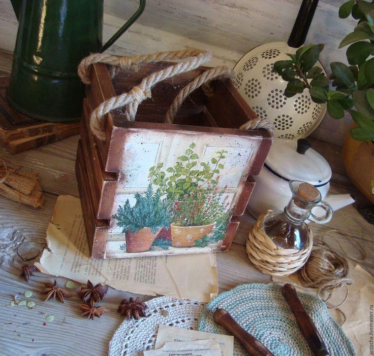 """Купить """"Ароматные травы"""" короб-ящик - комбинированный, ящик, короб, кухня, травы, кантри, дача"""