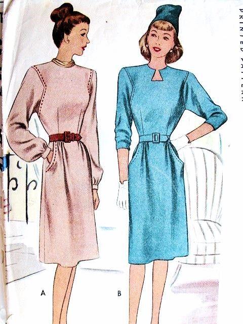 1940 SLEUTELGAT hals jurk PATROON 2 HALS STIJLEN McCall PATRONEN 6320