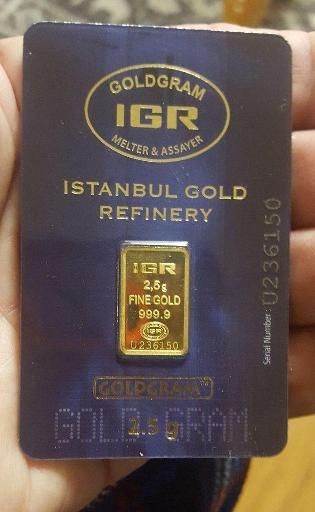 2 5 Gram 999 9 24k Istanbul Gold Refinery Bar Igr In Assay Gold Bar Refinery Gold