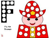 fireman fire prevention do a dot/magnet pages