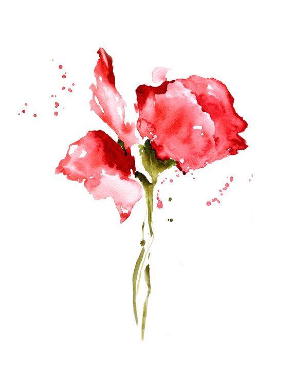 Rose Painting Print, NancyKnightArt.etsy.com, Red Flower