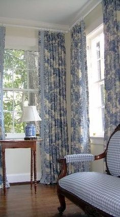 blue cottage charm gingham settee with the toile curtains