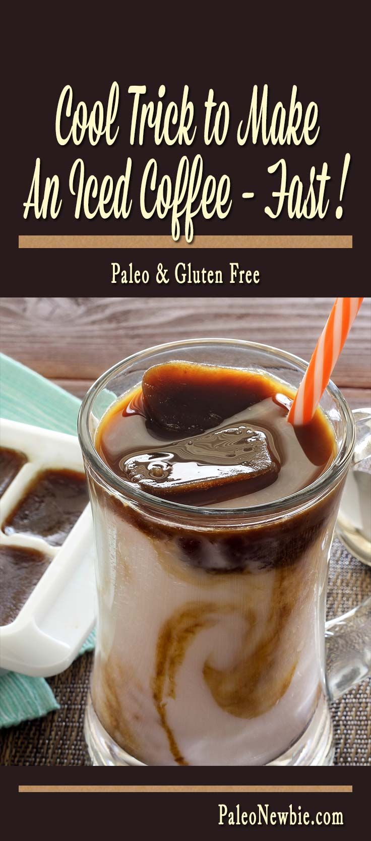 Check out this delicious timesaver – make a tall paleo iced coffee or iced latte at home in about 30 seconds if you use this clever little trick!