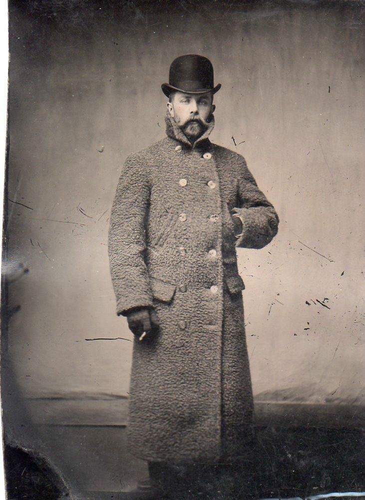 Vintage Tin Type Gentleman,Great Pose,Long Overcoat,Beard,Bolla Hat,Cigarette