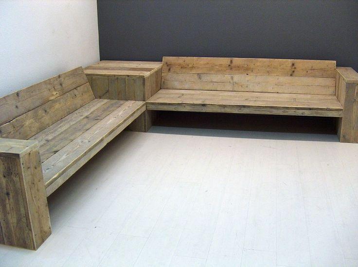 Zelf steigerhouten hoekbank maken met opbergruimte of steigerhout