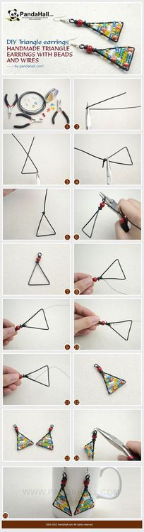 Jewelry Making Tutorial--DIY Handmade Triangle Earrings with Beads and Wires   PandaHall Beads Jewelry Blog