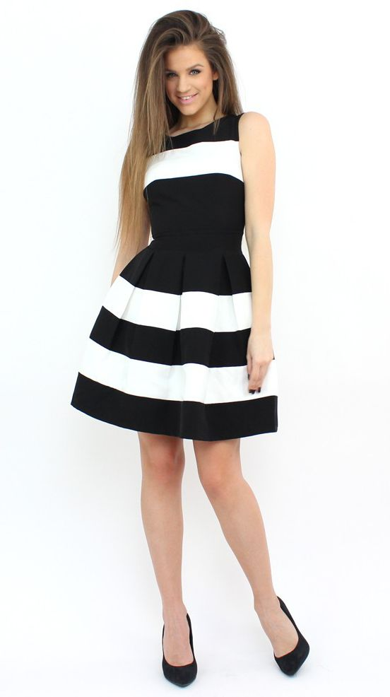 Black and White Striped Dress for a girly and playful touch..:)  #dress #moda #shopping #style #fashion #striped #formal #party