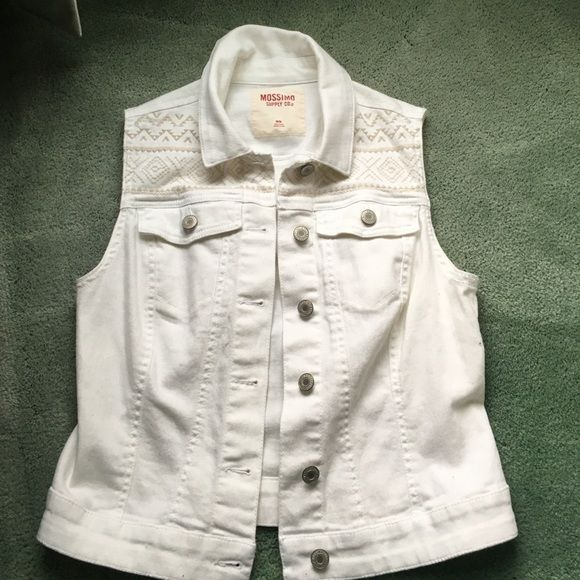 White Jean Vest Cute white jean vest with tan embroidery. 90% cotton 2% spandex. Mossimo Supply Co Jackets & Coats Vests