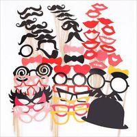 50 stks Snor Lip Hart Bruiloft Verjaardag Decoratie Fun Foto Props Event Feestelijke Feestartikelen Gunsten Gratis Verzending