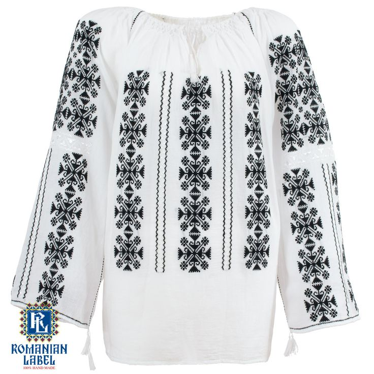$151.22 A 100% hand made traditional blouse, exclusively tailored out of natural materials, such as white cotton and black embroidery.