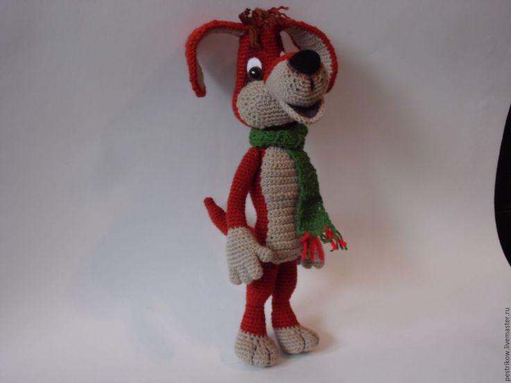 Купить Дворняга Рекс. - коричневый, пес, собака, собачка, собака игрушка, щенок, вязаный, подарок