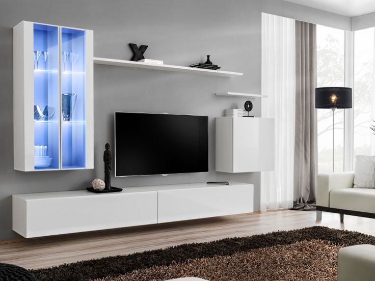 """SHIFT XII - Seattle collection - Modern entertainment center with High Gloss fronts - Wall mounted living room furniture with LED lighting - Floating TV console for up to 90"""" TVs (White & White Gloss). European design wall mounted home entertainment center - Modern living room furniture Set. Two wall hanging TV consoles of 95"""" total width - High gloss drop-down doors with pneumatic lid stay - Two interior compartments in each TV cabinet. Two vertical cabinets with partially glazed doors…"""