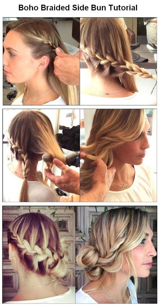 Make a Boho Braided Side Bun For Hair. So cute now if only I could actually do this that would be nice