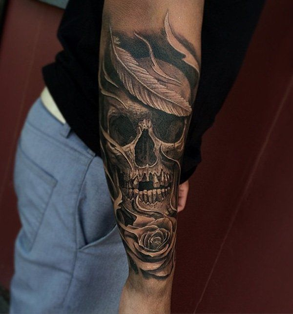 Skull tattoo on sleeve for men - 100 Awesome Skull Tattoo Designs  <3 <3