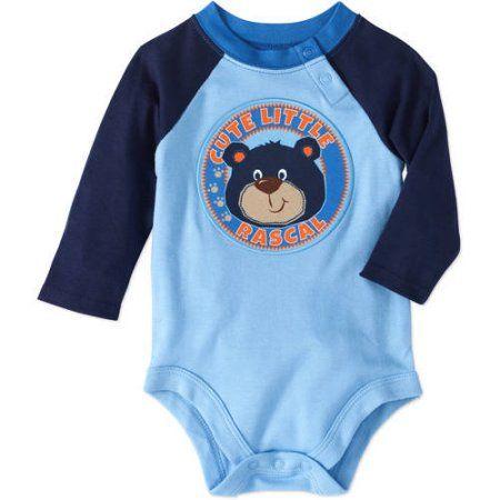 Garanimals Newborn Baby Boy Long Sleeve Applique Raglan Bodysuit, Size: 24M, Blue