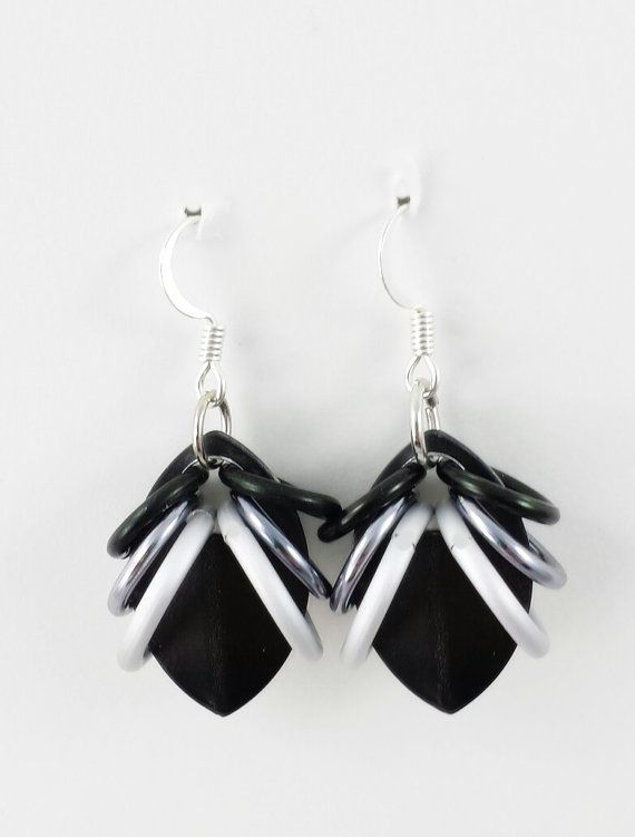Ombre Black and White Scale Earrings by AndrassidyDesigns on Etsy