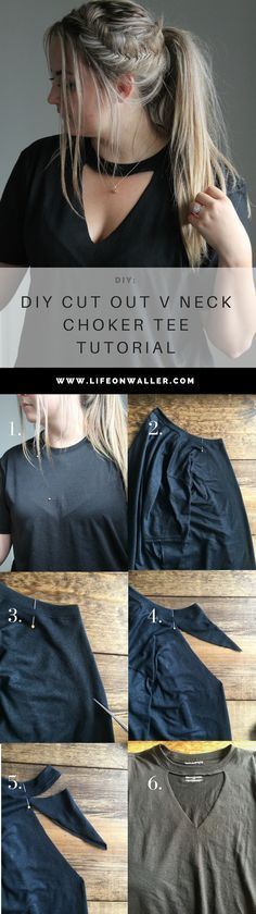 diy cut out v neck choker tee tutorial! Save money on these super popular choker tee tops! All you need is a regular t-shirt and scissors! check out the tutorial!
