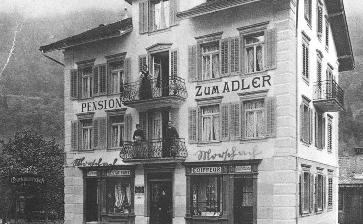 Kleine Geschichte der Pension zum Adler in Morschach.  /   Small history of the Pension «zum Adler» (Eagle) inMorschach.
