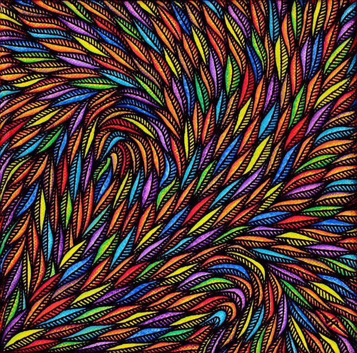 Fleuri (Peinture),  31x31x1,5 cm par Jonathan Pradillon Titre de l'œuvre : Fleuri.  Tableau réalisé au Posca (Uni / style de peinture acrylique), toile de coton tendue sur châssis en bois.  Protection : œuvre vernie à la bombe aérosol semi-brillante.  Format de l'œuvre (sans cadre) : 20 cm x 20 cm x 1,5 cm.  Diagonale de l'œuvre (sans cadre) : 28,2 cm.  Format de l'œuvre (avec cadre) : 31 cm x 31 cm x 1,5 cm.  Diagonale de l'œuvre (avec cadre) : 43,8 cm.  (Cadre artisanal...