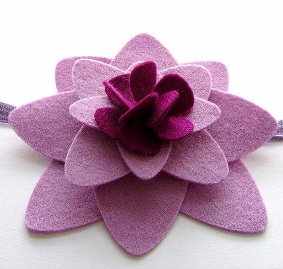 Felt Flower Headband Lavender Lovely por HandiCraftKate en Etsy